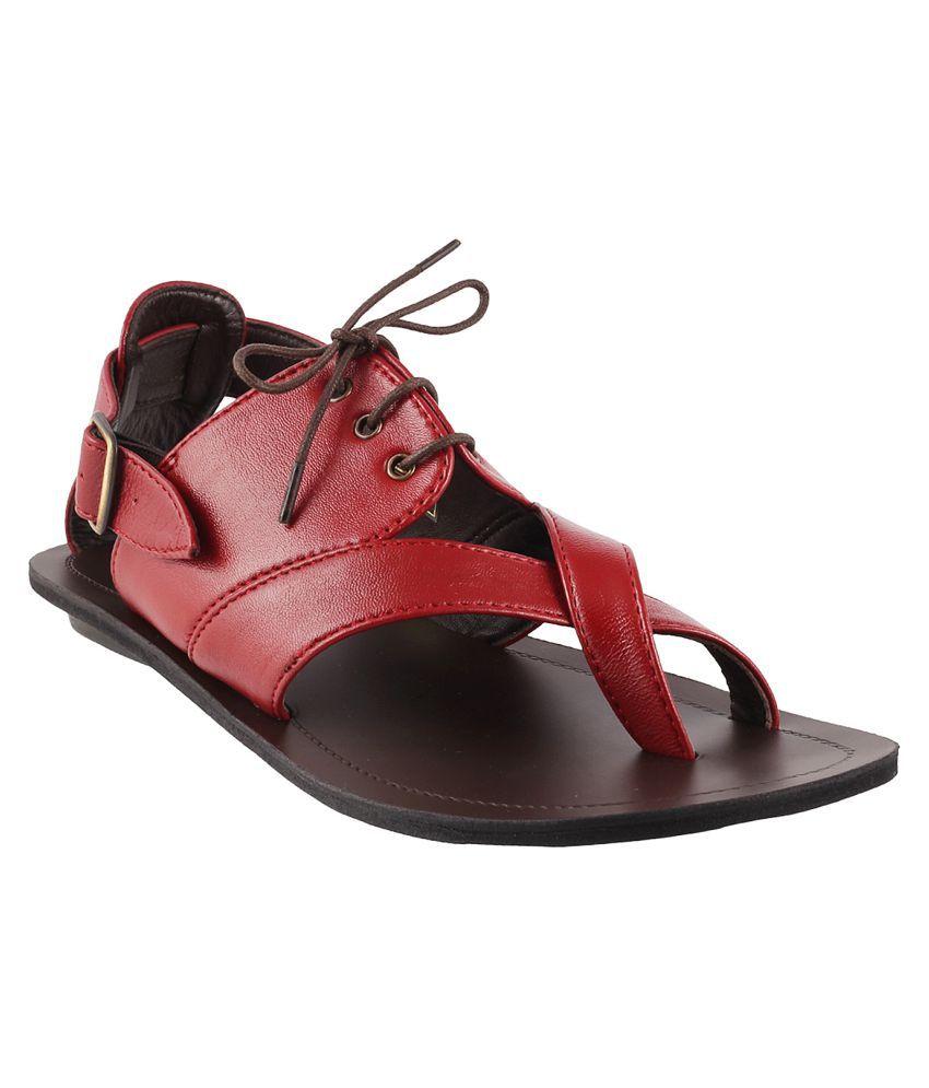 b0569118a2d Mochi Mochi Men s Leather Sandal RED Sandals Price in India- Buy Mochi  Mochi Men s Leather Sandal RED Sandals Online at Snapdeal