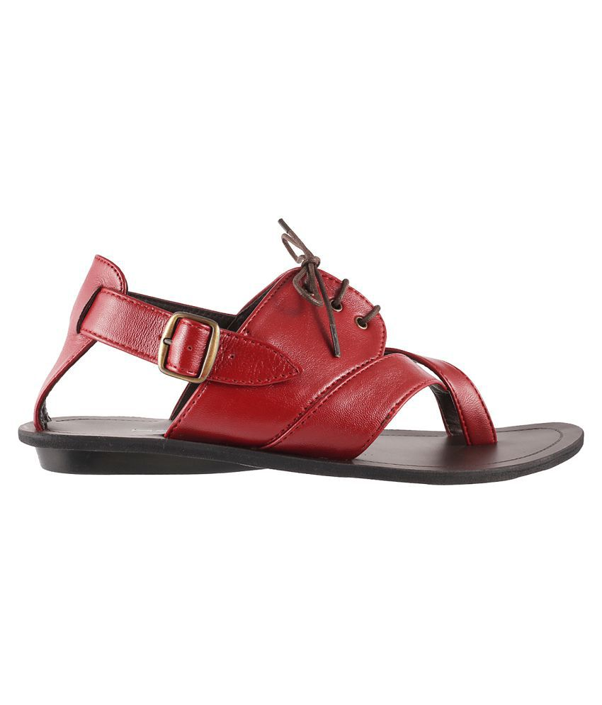 dd03a576d5ed Mochi Mochi Men s Leather Sandal RED Sandals Price in India- Buy ...