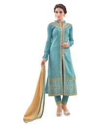 The Ethnic Chic Blue Cotton Dress Material