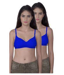 Dreams Blue Cotton Lycra T-Shirt/ Seamless Bra - 672046352848