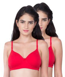 Dreams Red Cotton Lycra T-Shirt/ Seamless Bra - 686329460097