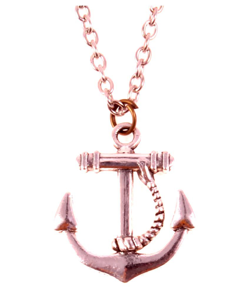 Ally Designs trendy silver coated anchor design pendant necklace