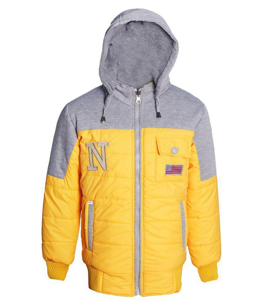 naughty ninos Girls Yellow & Grey Hooded Reversible Bomber Jacket