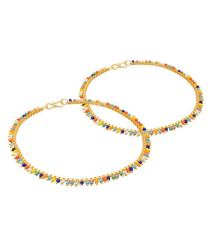 The Luxor Gold Plated Multicolour Beads Studded Pair of Anklets AK-5050