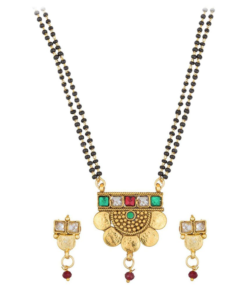 The Luxor Gold Plated Multicolor Kundan Studded Gini Mangalsutra Set