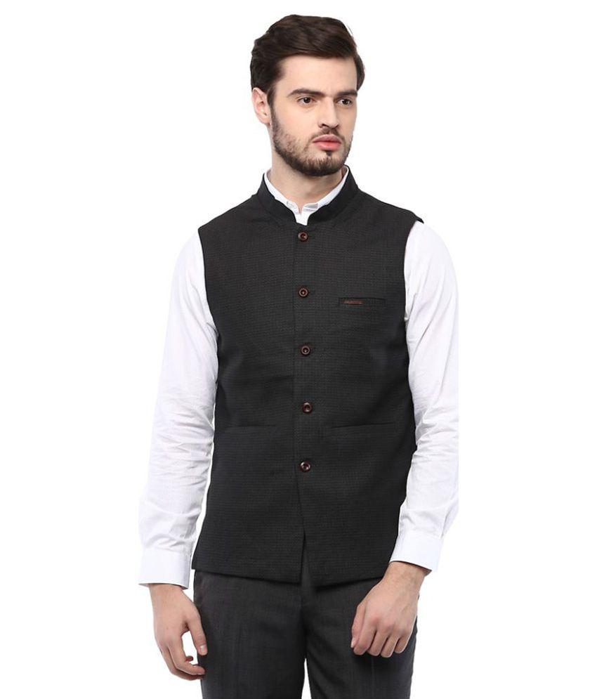 Turtle Black Plain Casual Waistcoats