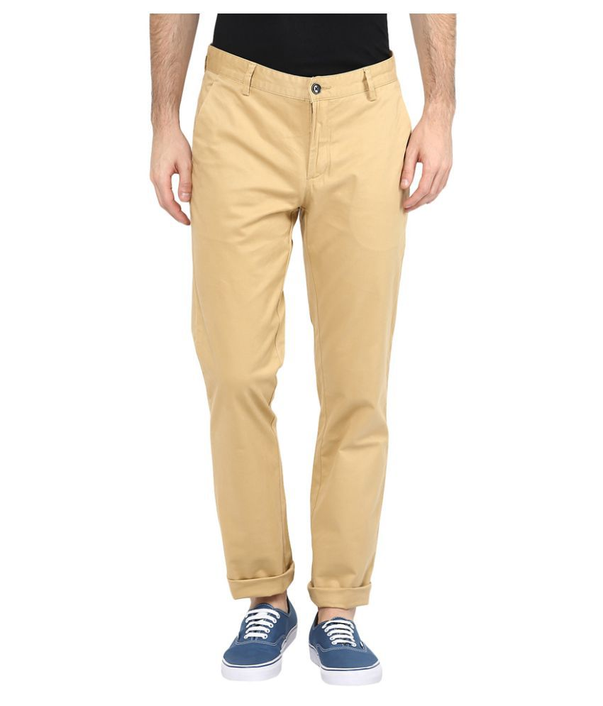 Turtle Yellow Slim Flat Trouser