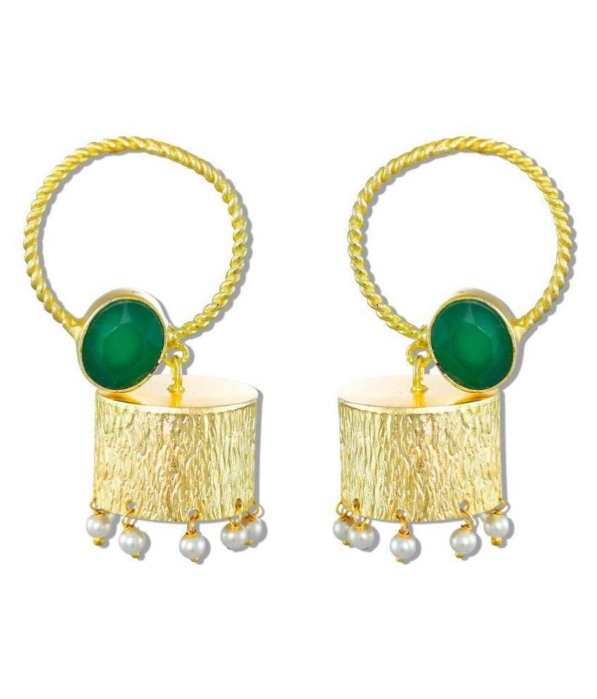 Zaveri Pearls Brass Gold Plating Pearls Studded Gold Coloured Earrings