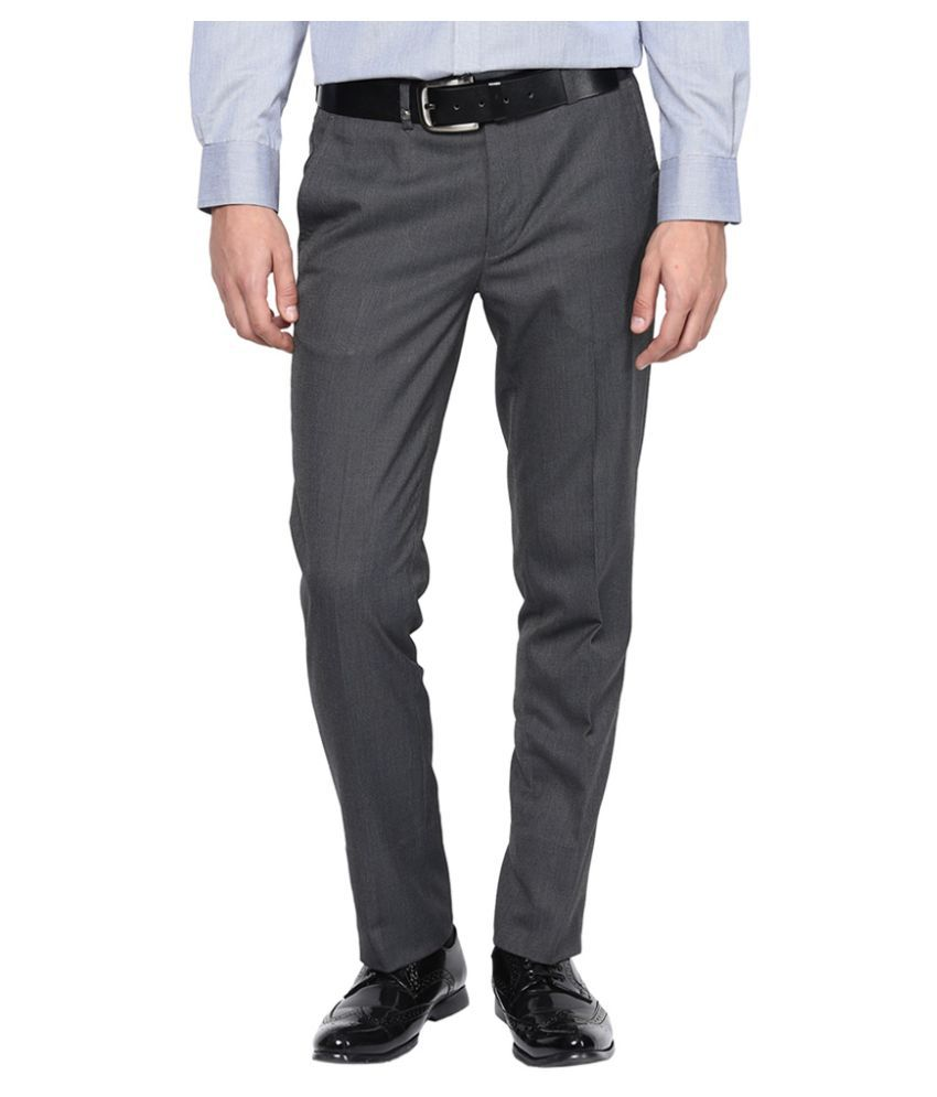 London Bridge Grey Slim Flat Trouser