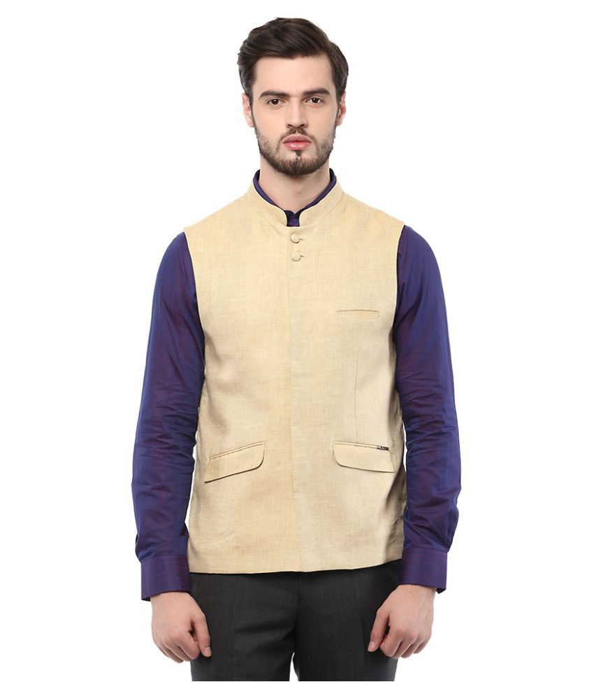 Turtle Yellow Solid Casual Waistcoats