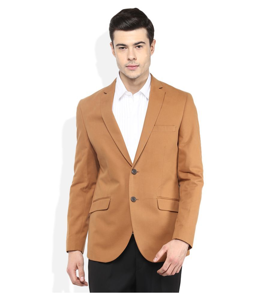 Giovani Brown Solid Casual Blazers