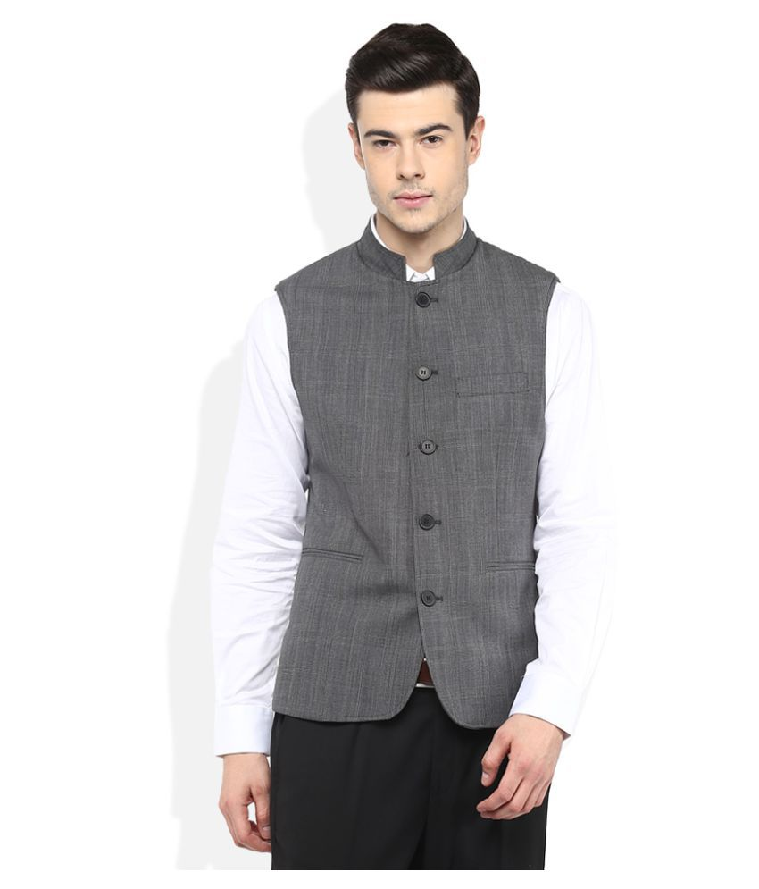 Giovani Grey Self Design Formal Waistcoats