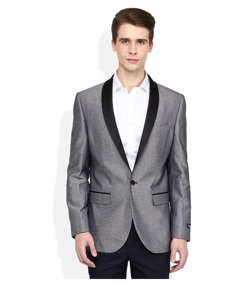 Giovani Grey Self Design Formal Blazers