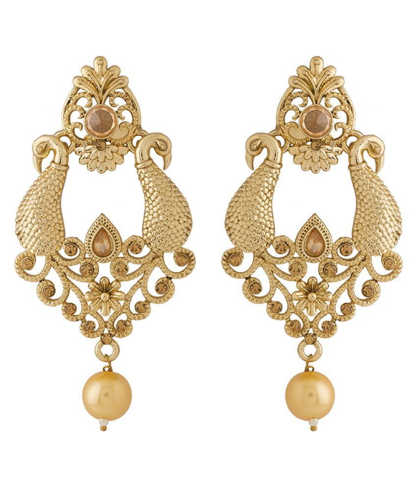 Voylla Peacock Designer Gold Toned Earrings