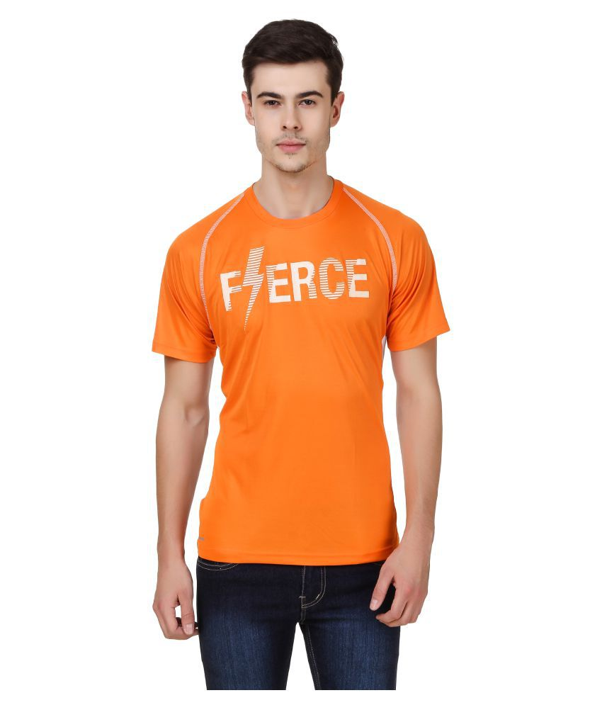 Orange colored t-shirt.