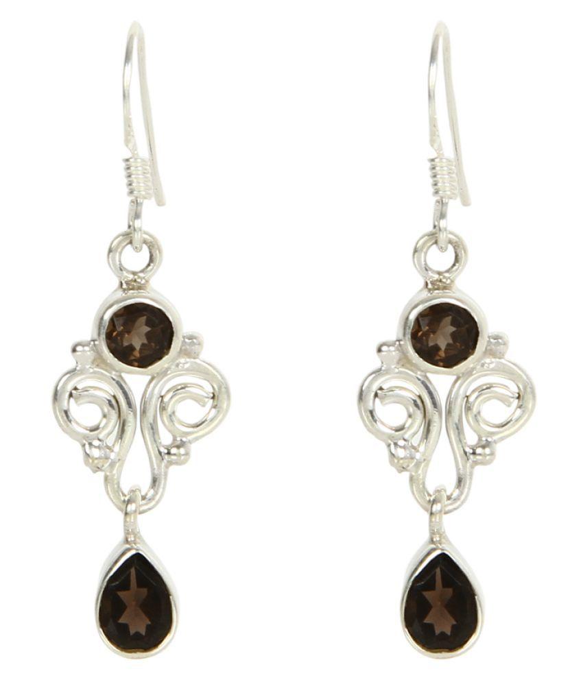 Silverwala 92.5 BIS Hallmarked Silver Topaz Hangings