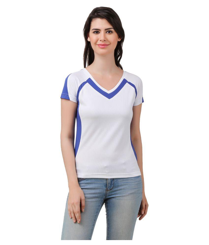 Spunk White Polyester T-Shirt