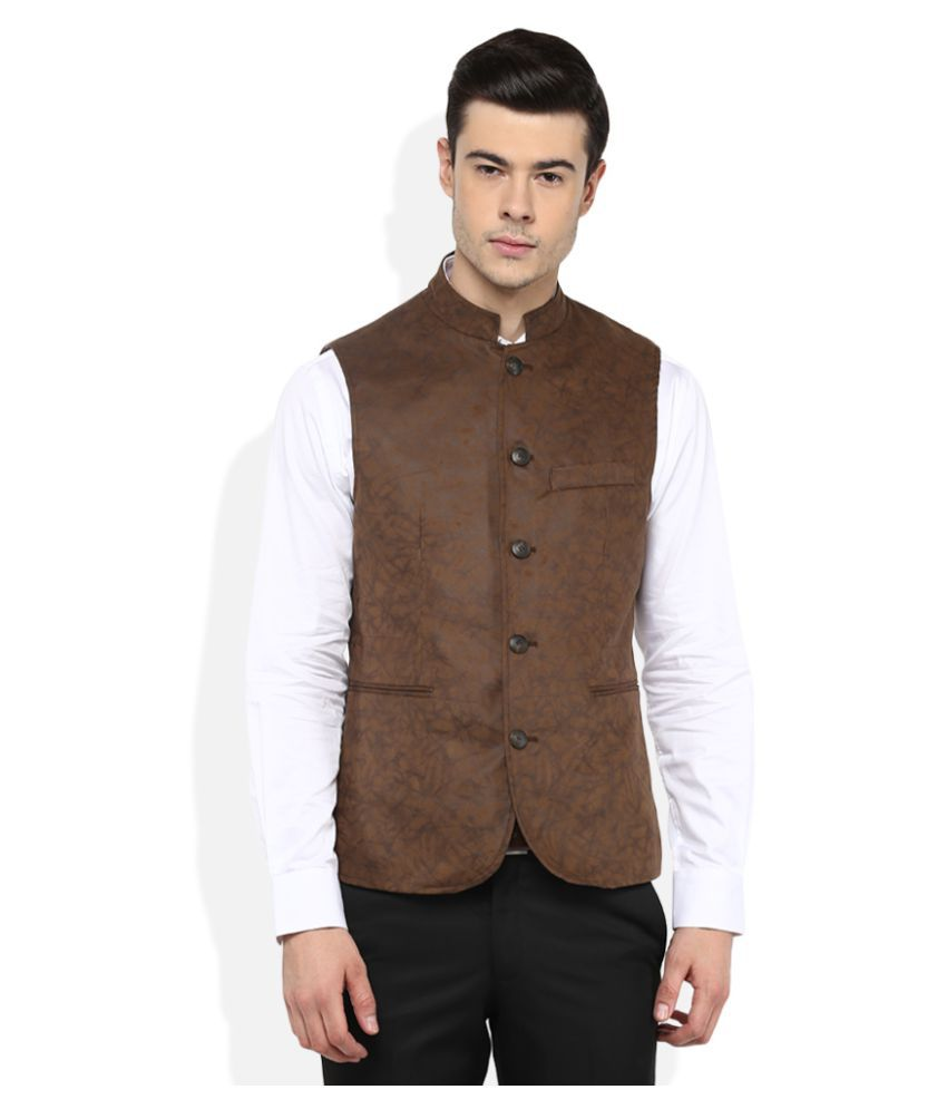 Giovani Brown Printed Party Waistcoats