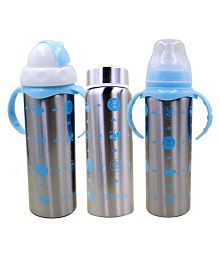 N&M Blue Multifunctional Baby Steel Feeding Bottle Cum Sipper Cum Straw