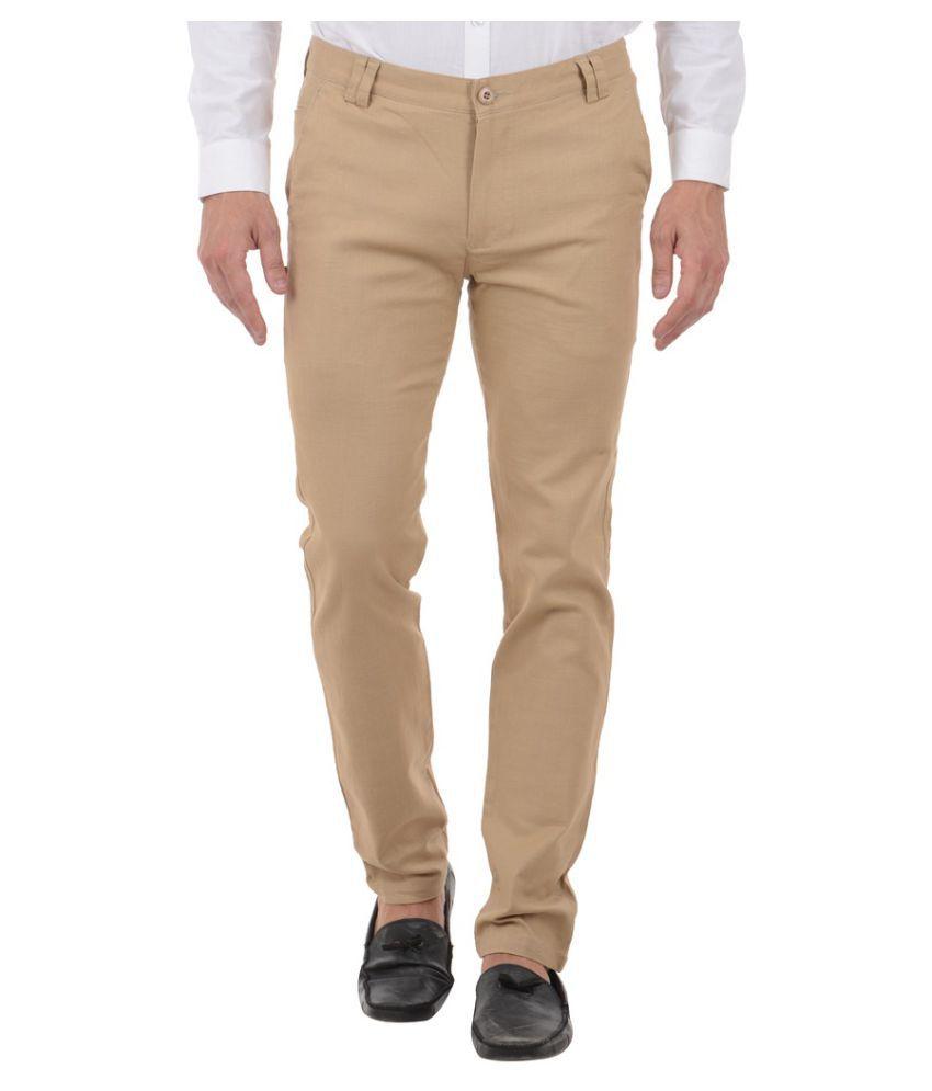 Harvest Beige Slim Flat Trouser