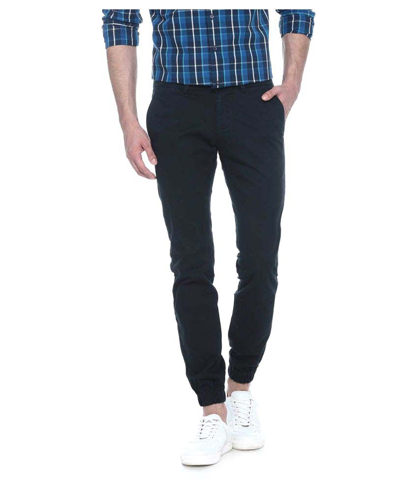 Basics Navy Blue Skinny Flat Trouser