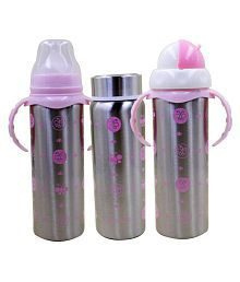 N&M Multifunctional Baby Steel Feeding Bottle With Beautiful Design - Pink (Color may vary)