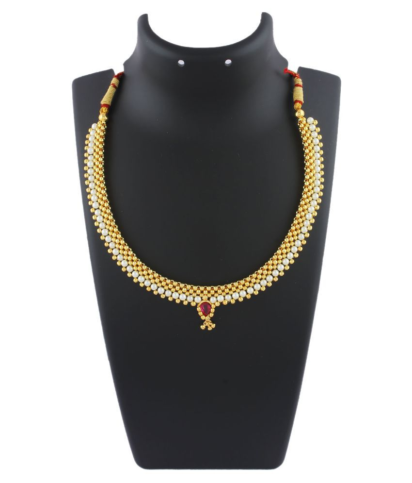 Anuradha Art Golden Colour Styled With Woven Pearl Beads Classy Thushi Necklace for Women