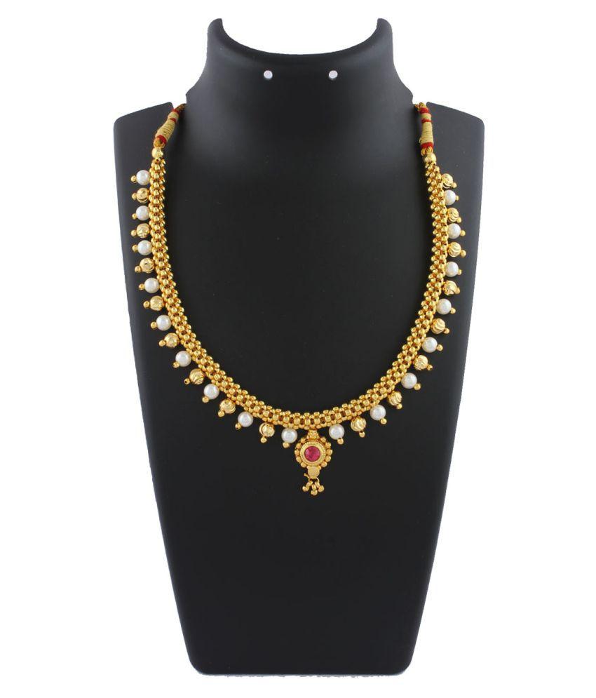Anuradha Art Golden Finish Very Classy Designer Trendy Necklace Thushi for Women