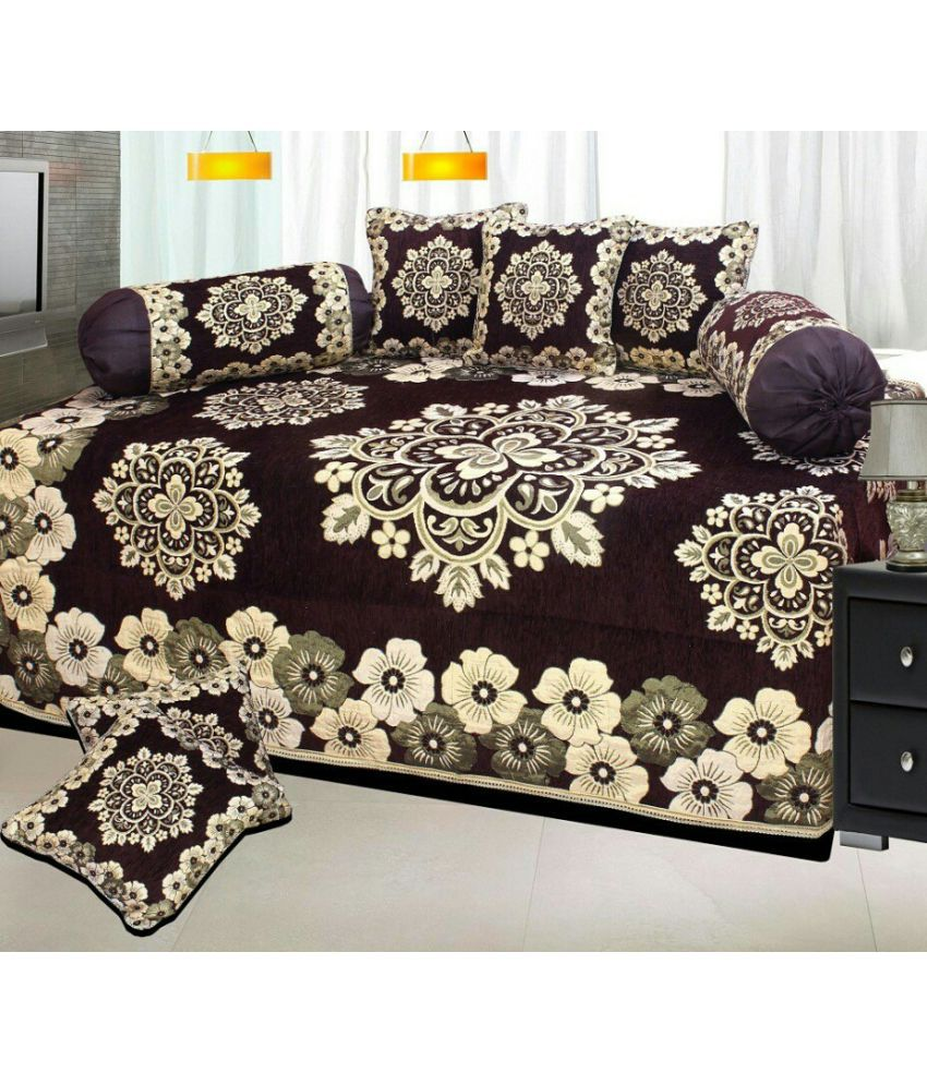 P home decor single chenille floral diwan set buy p home for Order home decor online
