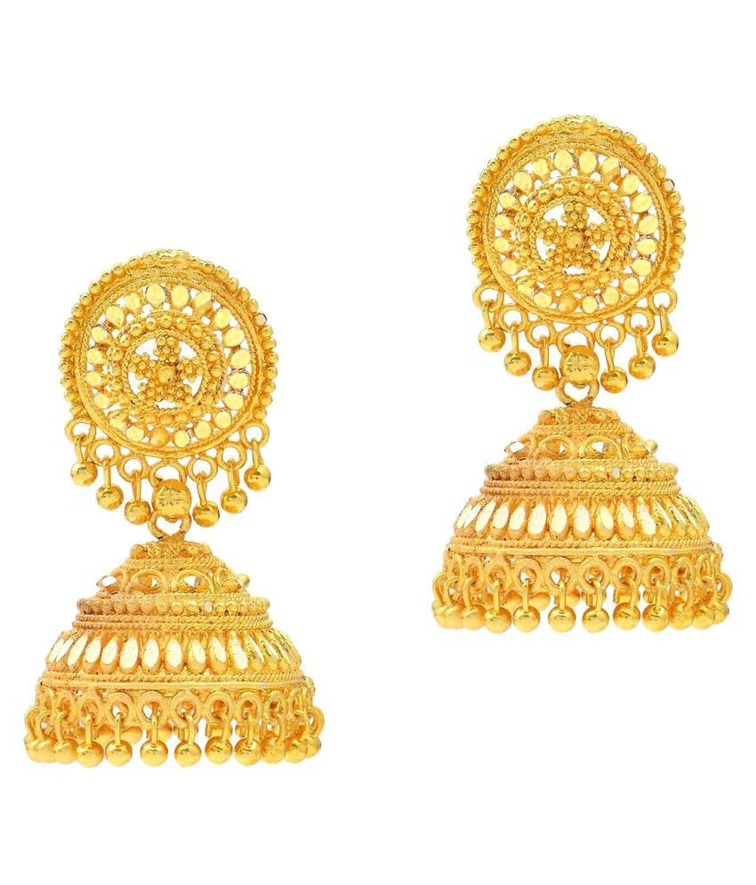 Memoir Gold Plated plated Faux Kundan Traditional Bridal all occasion Jhumki Earrings