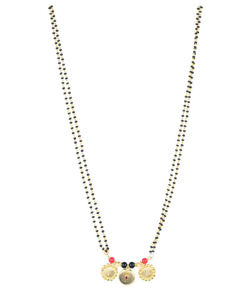 Memoir Gold plated 3 Coin, Ruby colour stone studded, Laxmi Coin jewellery Mangalsutra for Women