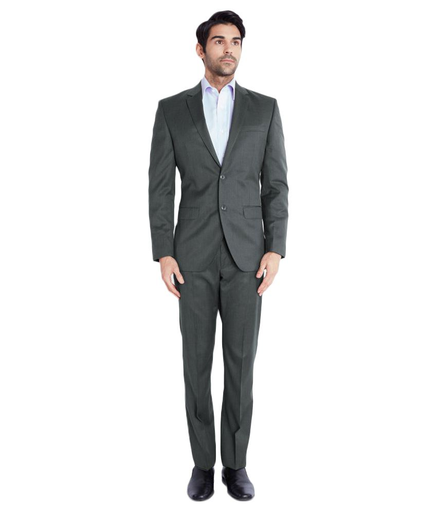 Park Avenue Grey Solid Formal Suit Single