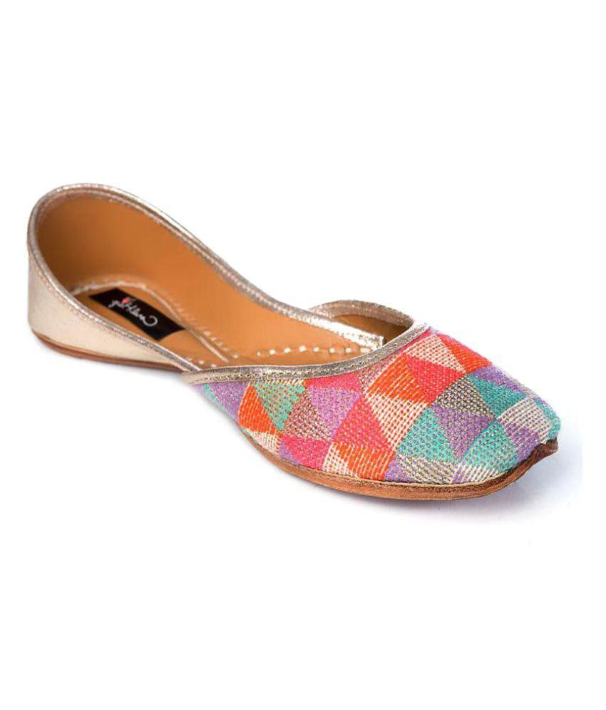 Coral Haze Multi Color Flat Ethnic Footwear