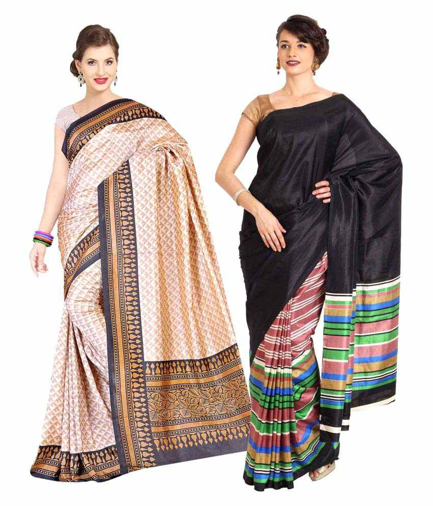 Rangkari Multicoloured Art Silk Saree Combos