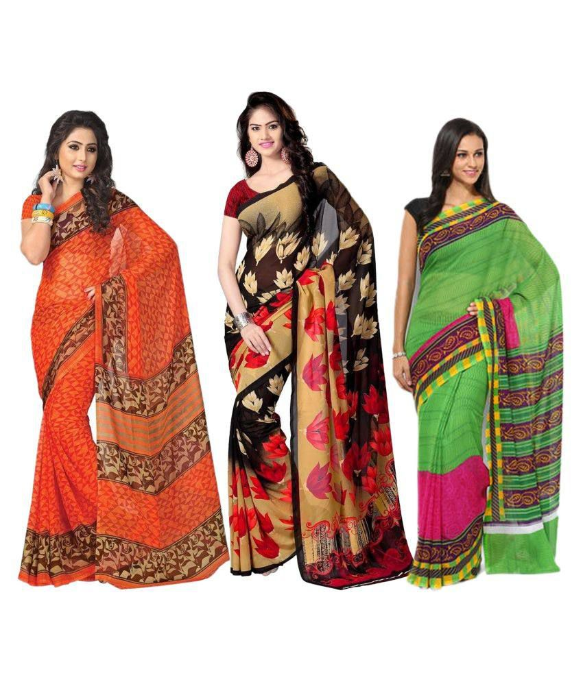 Rangkari Multicoloured Georgette Saree Combos