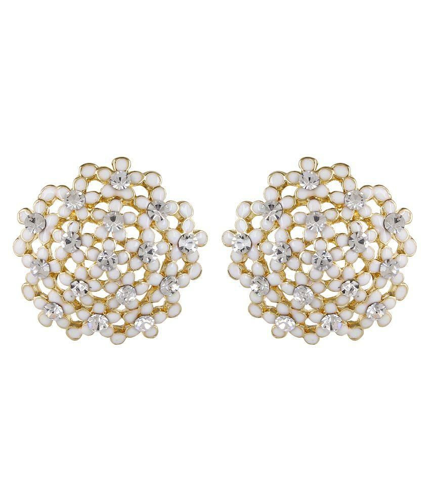 Fayon Daily Casual Work Tiny White Flowers Cluster Stud Earrings