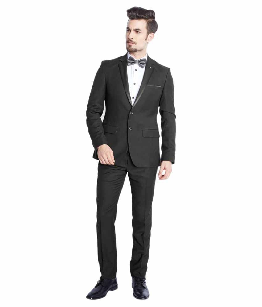 Parx Black Solid Formal Suit
