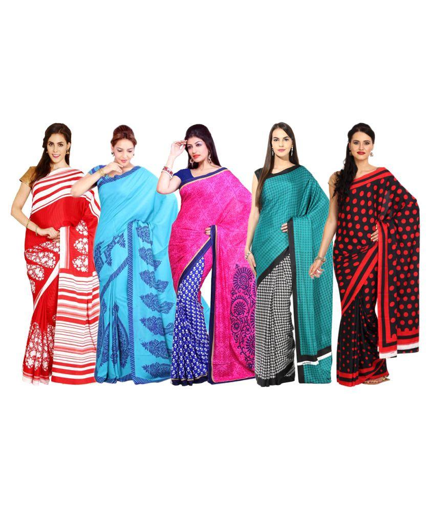 Rangkari Multicoloured Crepe Saree Combos