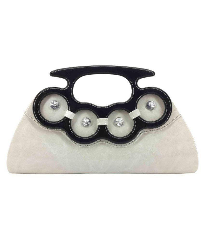 X-Well White Pure Leather Box Clutch