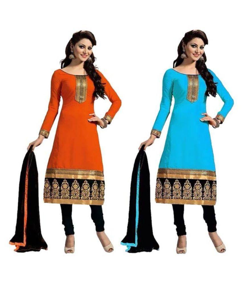 Ethnicvilla Multicoloured Cotton Dress Material