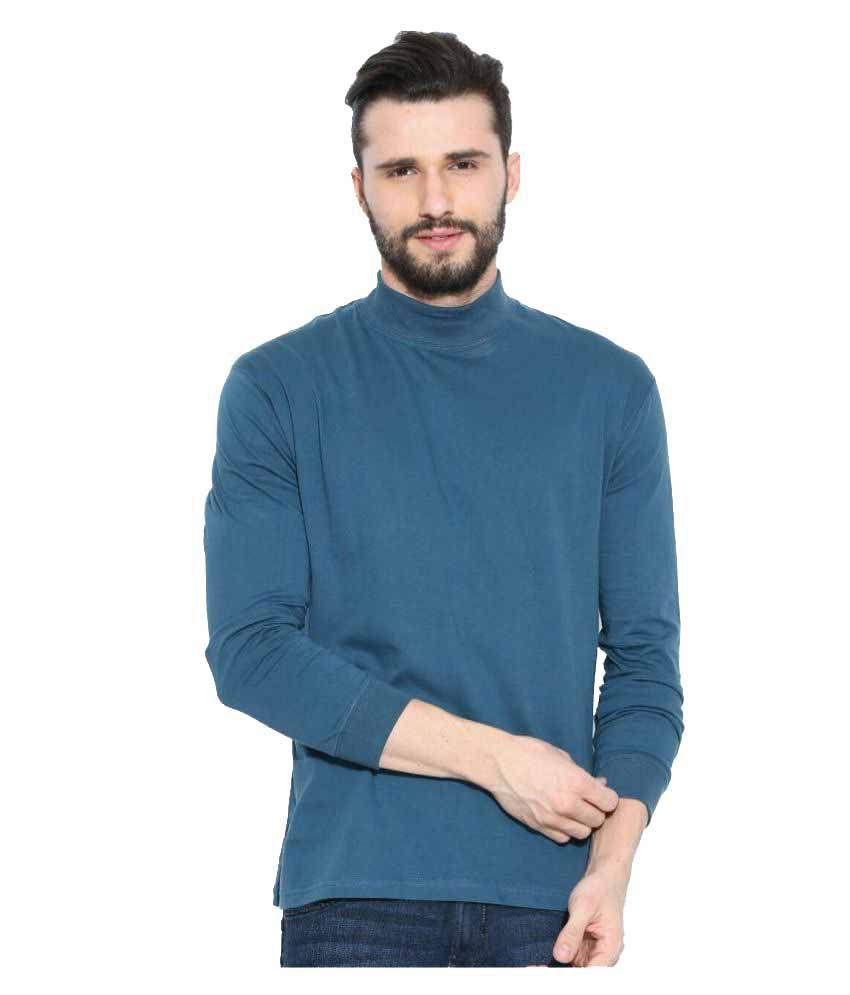 Dream of Glory Inc. Blue High Neck T-Shirt