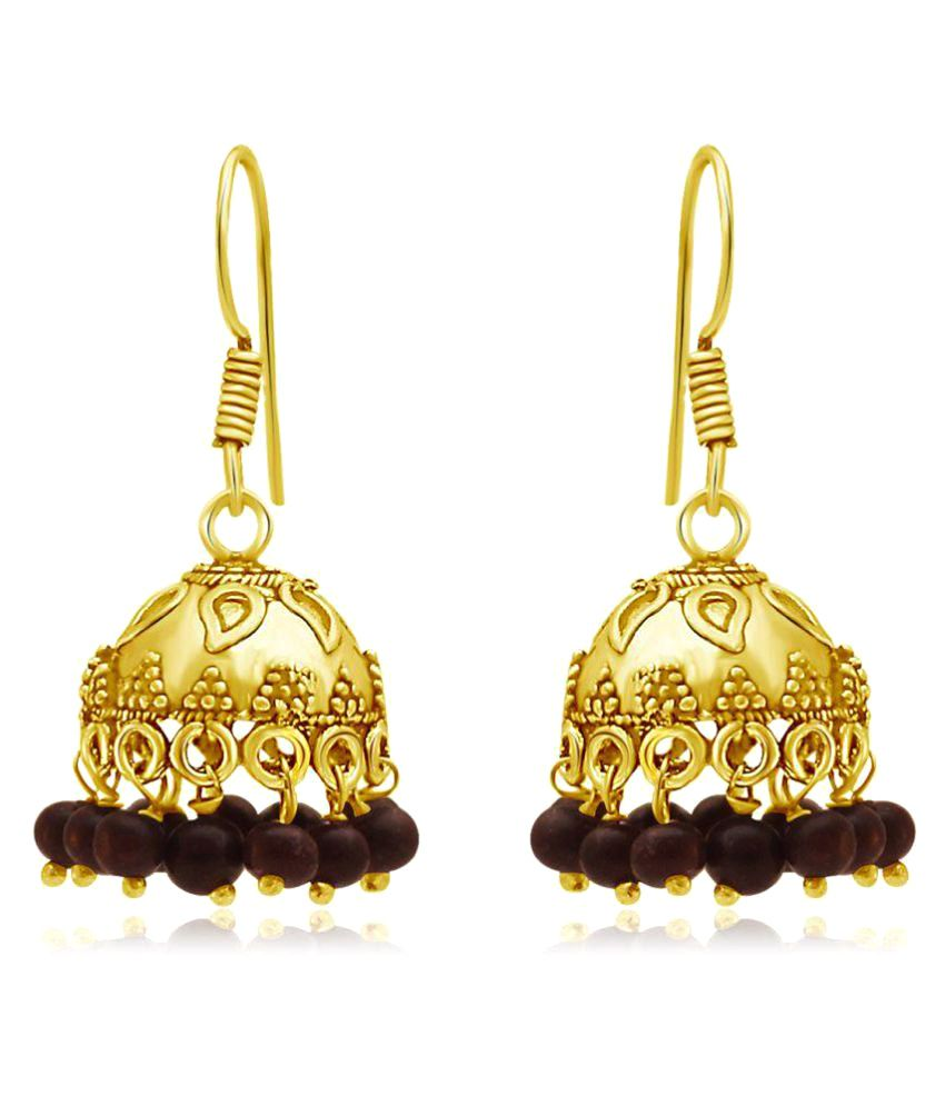 Spargz Beautiful Oxidized Gold Plating Cherry Color Beads Jhumka Earrings