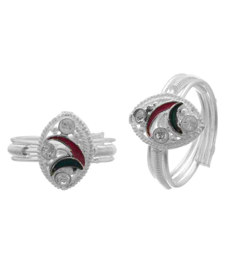 Memoir Cz Silver Plated Multicolour Meena, Triple Band Toering