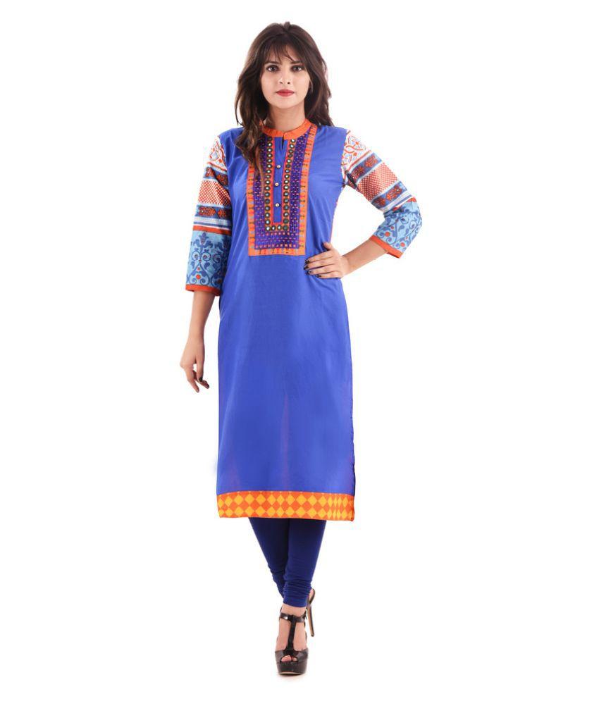 Hirshita Blue Rayon A-line Kurti