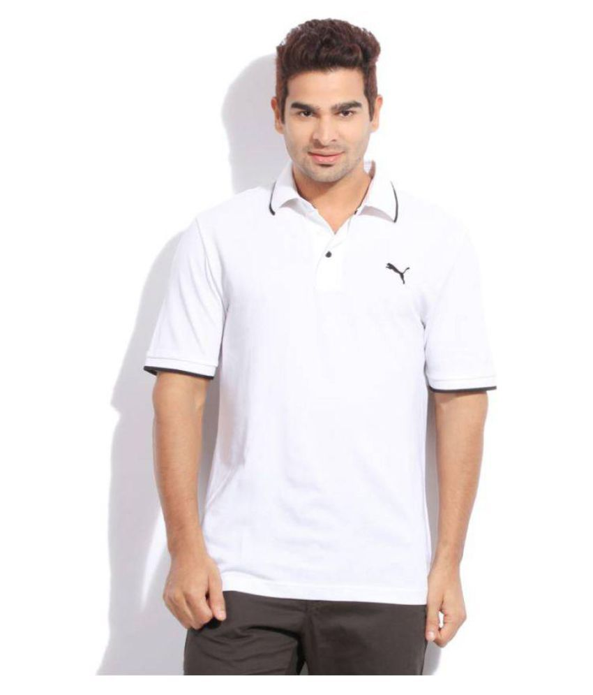 Puma White Regular Fit Polo T Shirt