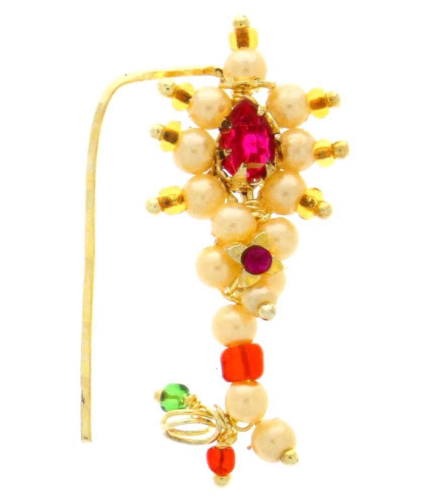 Anuradha Art Golden Finish Very Simple & Stylish Classy Maharashtrian Nose Ring Nath
