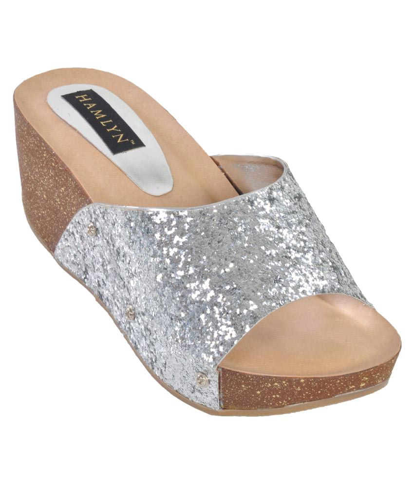 Hamlyn Shoes Silver Wedges Heels
