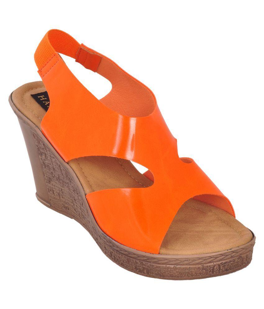 Hamlyn Shoes Orange Wedges Heels