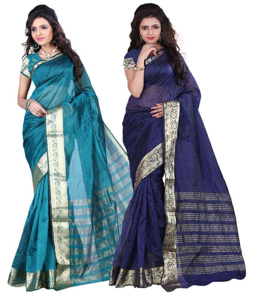 Ganga Shree Multicoloured Art Silk Saree Combos