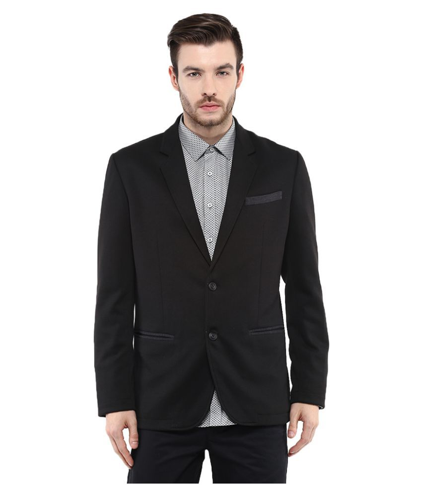 Mufti Black Solid Casual Blazers